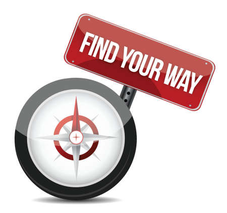 find your way: compass with the words Find Your Way illustration