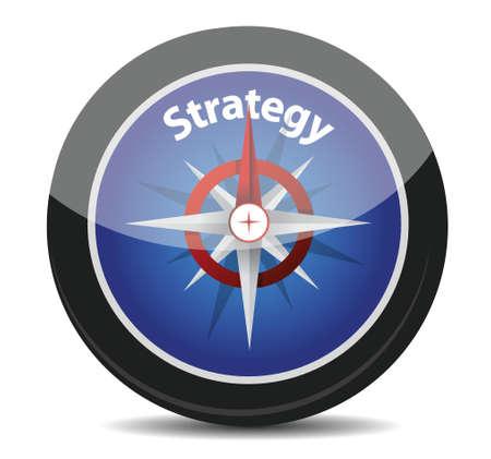 白い背景の上の戦略コンパス コンセプト イラスト デザイン  イラスト・ベクター素材