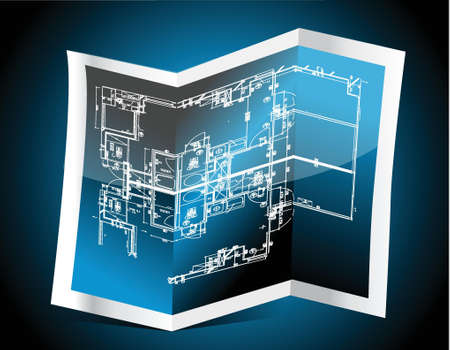 blue paper with technical drawing illustration design