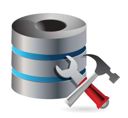 화이트 통해 데이터베이스 최적화 및 구성 개념 그림 디자인