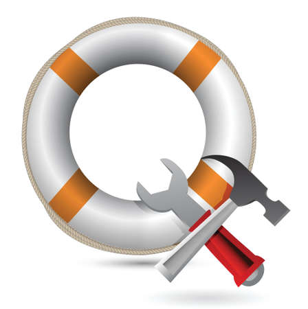 Lifesaver and Tools illustration design over white Ilustração