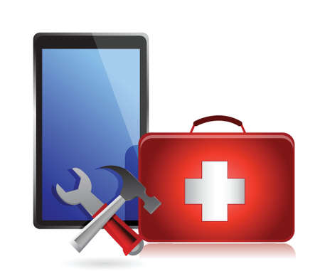 laptop repair: Tablet with tools and a first aid kit on a white background