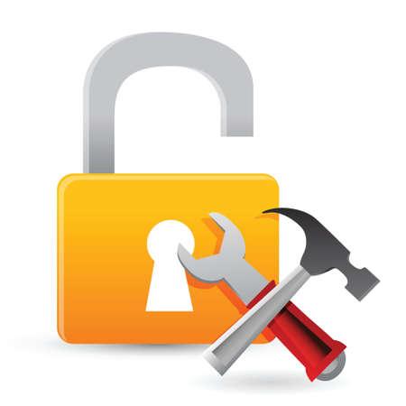 unlock tools concept illustration design over white
