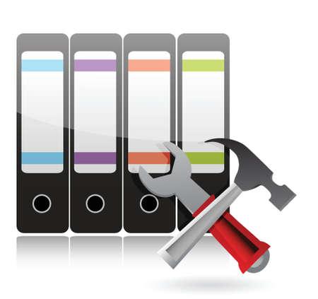 servicing: office tools Support concept illustration design over white Illustration