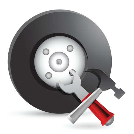 auto service: Wheel and Tools. Car service illustration design over white