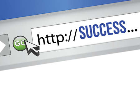surfing the net: Computer Screen, concept of Online Business Success illustration design