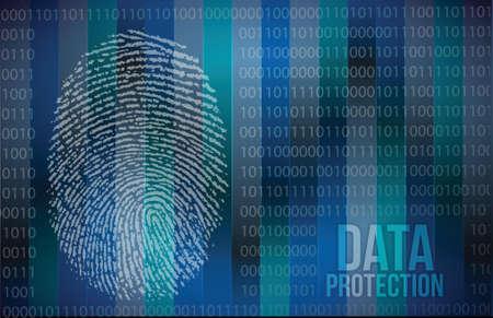 odcisk kciuka: Pojęcie bezpieczeństwa: ochrona palców i dane projektowe ilustracja Ilustracja