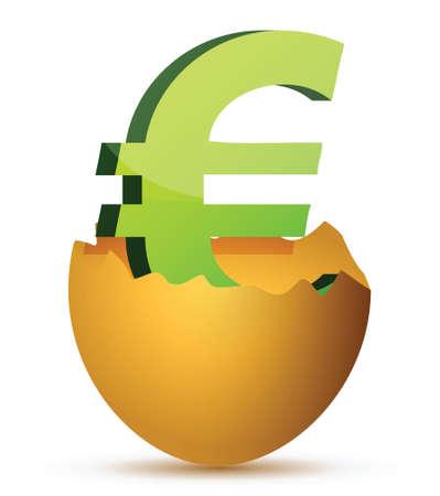 Simbolo di valuta all'interno dell'uovo concetto illustrazione profitti Archivio Fotografico - 17283897