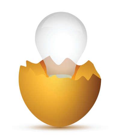 Broken egg the and lamp illustration design over white Stock Vector - 17283907