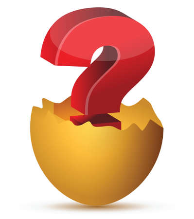 illustration of egg with red question mark concept Ilustração