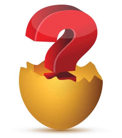 Illustrazione di uovo con il concetto di punto interrogativo rosso Archivio Fotografico - 17283895