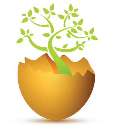 Broken egg with plant illustration design over white Ilustrace
