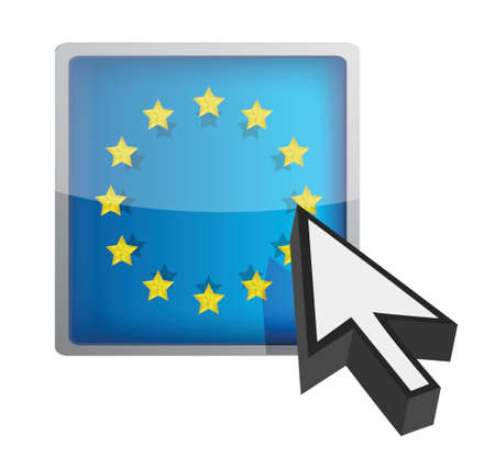 EU button and cursor illustration design over white Ilustrace