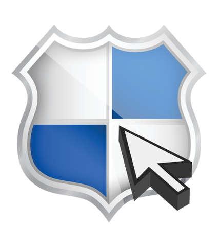 shield icon and cursor illustration design over white Stock Vector - 17283918