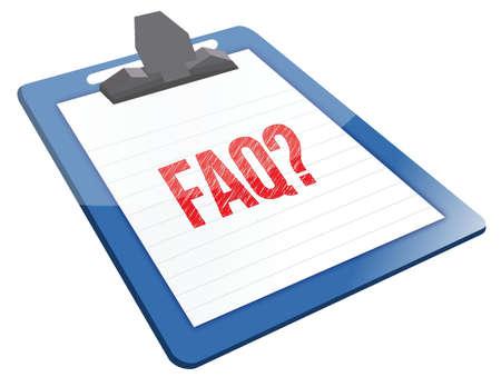 faq icon: FAQ portapapeles icono ilustraci�n dise�o sobre un fondo blanco Vectores