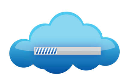 cloud downloading illustration design over a white background