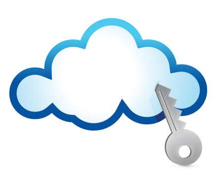 hard drive: Cloud computing internet security concept illustration design