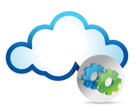 Cloud computing internet security concept illustration design over white