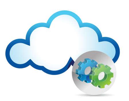 hard drive: Cloud computing internet security concept illustration design over white