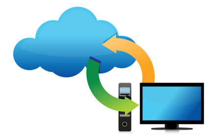 wide open: cloud connected to computer illustration design over white Illustration