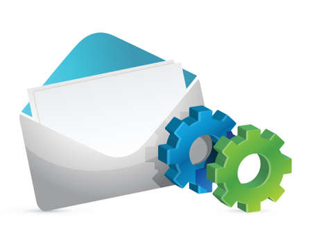 envelope and color gears illustration design over white Vector