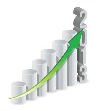 2013 growth bar graph illustration design over white Vector