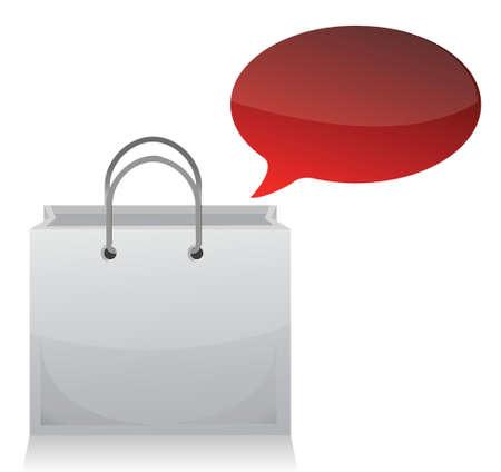 shopping bag and blank bubble illustration design over white Stock Vector - 17320771