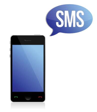 Boodschap, Telefoon teken illustratie ontwerp op wit
