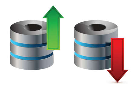 hard drive: Computer Database with Upload and Download Arrows illustration design