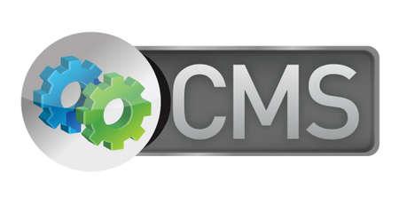 CMS versnellingen. content management systeem concept illustratie ontwerp over white Stock Illustratie