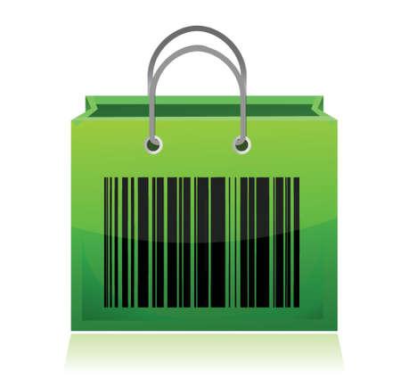 Zak met barcode illustratie ontwerp over wit Stockfoto - 17320778