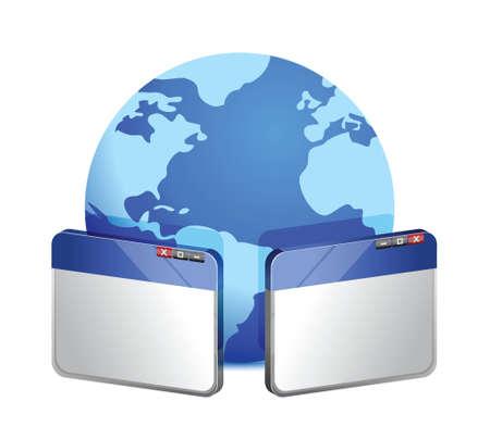 browservensters met wereldbol illustratie ontwerp op een witte Stock Illustratie