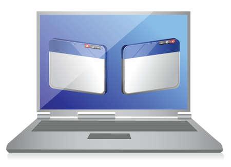 illustration of laptop computer with internet browser illustration design