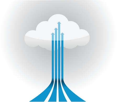 Cloud with arrow connections illustration design over white