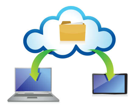 Cloud Computing with different Devices illustration design over white