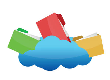 Files on Cloud Computing illustration design over white