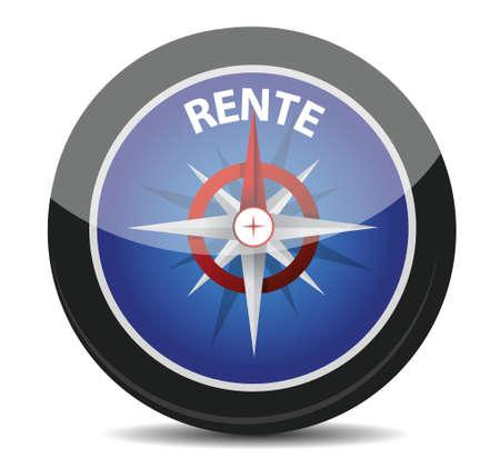 annuity: german text Rente, translate for pension illustration design