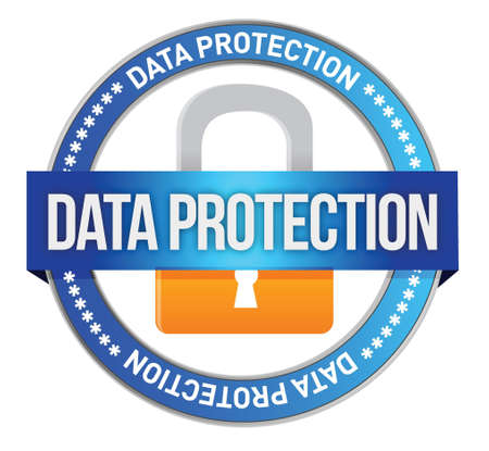 https: Icon Data Protection seal illustration design over white