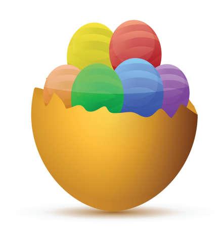 uovo rotto: Uovo rotto riempito con poco cioccolato design illustrazione uova