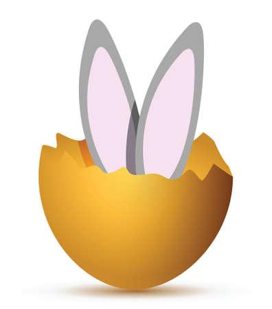 Bunny saltare fuori dalla progettazione rotto illustrazione uovo Archivio Fotografico - 17320837