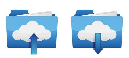 hub computer: Cloud computing upload and download icons illustration design Illustration