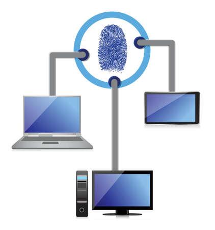 electronic connection security fingerprint diagram illustration design