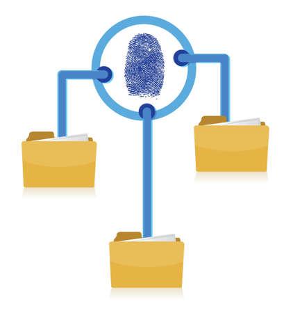 Folders connection security fingerprint diagram illustration design Ilustração