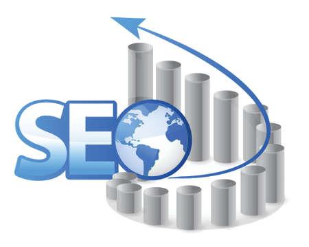 optimize: SEO - Search Engine Optimization with arrows illustration design