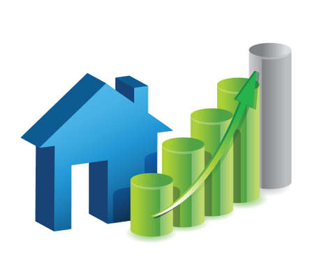 home products: House prices graph illustration design isolated over a white background