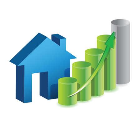 ungleichgewicht: Immobilienpreise Grafik, Illustration, Design �ber einem wei�en Hintergrund isoliert