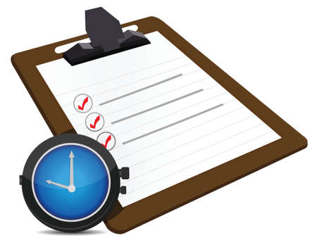 timing concept with classic office clock and check list illustration Vector