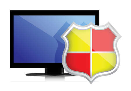 Shield protects Computer Monitor illustration design over white