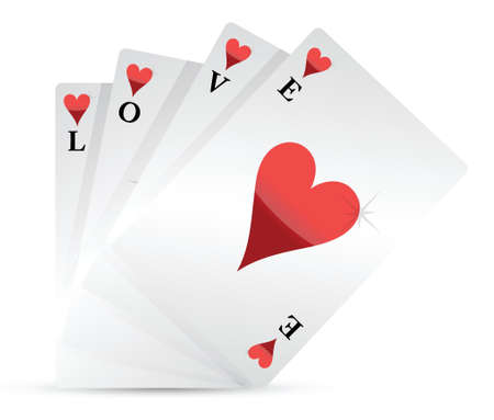 entertainment risk: love playing cards illustration design over a white background