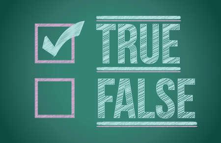 true false: True and false check box written on a blackboard Illustration